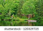 Laurentians Mountains Lake in Quebec , Canada - stock photo