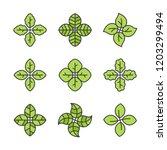 green leaves logo design... | Shutterstock .eps vector #1203299494