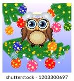 greeting christmas card owl on... | Shutterstock .eps vector #1203300697