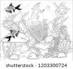 beautiful mermaid. underwater... | Shutterstock .eps vector #1203300724