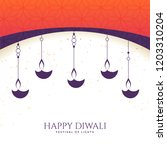 lovely happy diwali diya... | Shutterstock .eps vector #1203310204