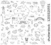 hand drawn doodle australia...   Shutterstock .eps vector #1203320551