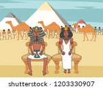 pharaoh and queen on throne at... | Shutterstock .eps vector #1203330907