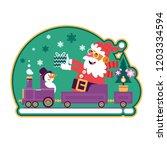 santa green with christmas tree ... | Shutterstock .eps vector #1203334594