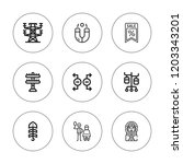 pole icon set. collection of 9... | Shutterstock .eps vector #1203343201