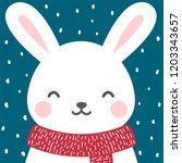 cute rabbit winter theme card ... | Shutterstock .eps vector #1203343657