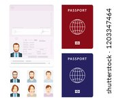 passport. open passport... | Shutterstock .eps vector #1203347464