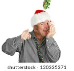 Small photo of Pushy guy checks his breath under the mistletoe at the office Christmas party. Isolated on white.