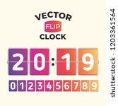 2019 vector flip clock template   Shutterstock .eps vector #1203361564