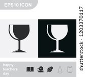 wine glass flat black and white ...
