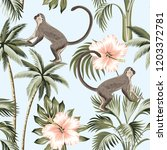 tropical vintage monkey  pink... | Shutterstock .eps vector #1203372781