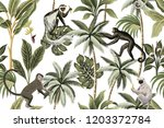tropical vintage monkey  palm... | Shutterstock .eps vector #1203372784
