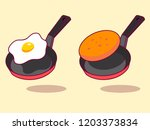 cartoon linear fried egg on a... | Shutterstock .eps vector #1203373834
