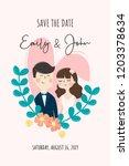 wedding invitation card. save...   Shutterstock .eps vector #1203378634