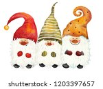 three gnomes in colorful caps.... | Shutterstock . vector #1203397657