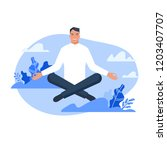 woman sitting in lotus pose and ... | Shutterstock .eps vector #1203407707