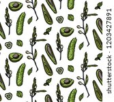 green veggies seamless pattern. ... | Shutterstock .eps vector #1203427891