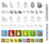 toy animals flat icons in set... | Shutterstock .eps vector #1203436897