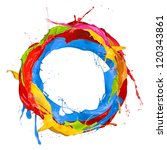 Colored Paints Splashes Circl...