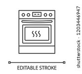 kitchen stove linear icon. gas... | Shutterstock .eps vector #1203446947