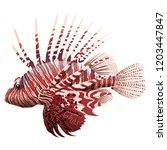 Cartoon Lionfish Isolated On...