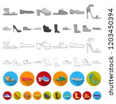 a variety of shoes flat icons... | Shutterstock .eps vector #1203450394