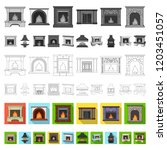 different kinds of fireplaces... | Shutterstock .eps vector #1203451057