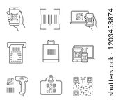 barcodes linear icons set.... | Shutterstock .eps vector #1203453874