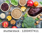 foods high in iron. liver ... | Shutterstock . vector #1203457411