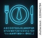 business lunch  dinner neon... | Shutterstock .eps vector #1203465784