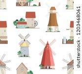seamless pattern with various... | Shutterstock .eps vector #1203468061