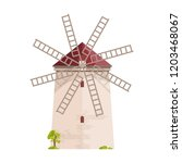 old european windmill isolated... | Shutterstock .eps vector #1203468067