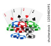 playing cards near stack of... | Shutterstock .eps vector #1203482491