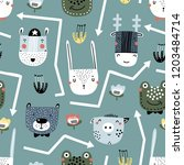 childish seamless pattern with... | Shutterstock .eps vector #1203484714