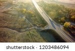 aerial top view of white truck...   Shutterstock . vector #1203486094