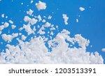 white soap foam on a blue sky...   Shutterstock . vector #1203513391
