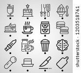 simple set of  16 outline icons ... | Shutterstock .eps vector #1203518761