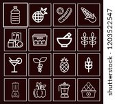 set of 16 food outline icons... | Shutterstock .eps vector #1203522547