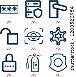 simple set of  9 outline icons... | Shutterstock .eps vector #1203523954