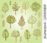 set of vector trees doodles | Shutterstock .eps vector #120353809