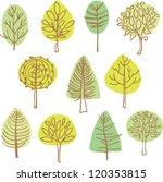 set of vector trees doodles | Shutterstock .eps vector #120353815