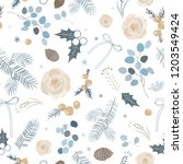 elegant winter seamless pattern.... | Shutterstock .eps vector #1203549424