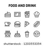 food and drink thin icon set... | Shutterstock .eps vector #1203553354