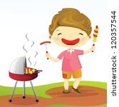 cute boy is having barbecue | Shutterstock .eps vector #120357544