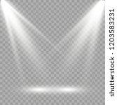 white scene on with spotlights. ... | Shutterstock .eps vector #1203583231