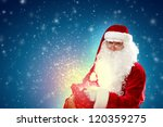 father christmas carrying... | Shutterstock . vector #120359275