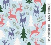 vector sky blue reindeer ad... | Shutterstock .eps vector #1203595834