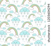 seamless pattern of hand drawn... | Shutterstock .eps vector #1203604294