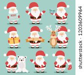 collection of cute santa claus... | Shutterstock .eps vector #1203609964