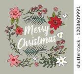 typographic merry christmas... | Shutterstock .eps vector #1203609991